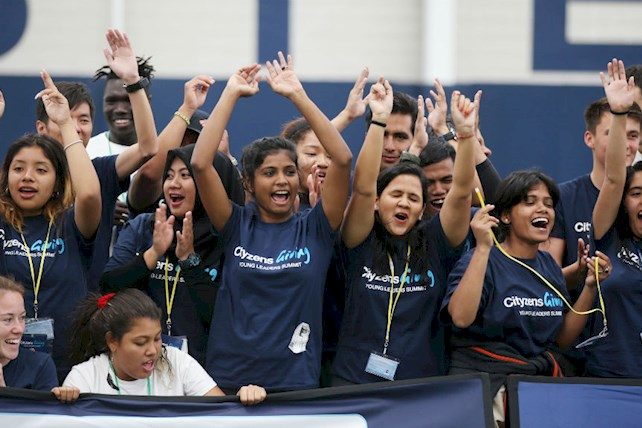 Diana Salinas (far left) celebrating the achievements of youth players participating in the youth festival.