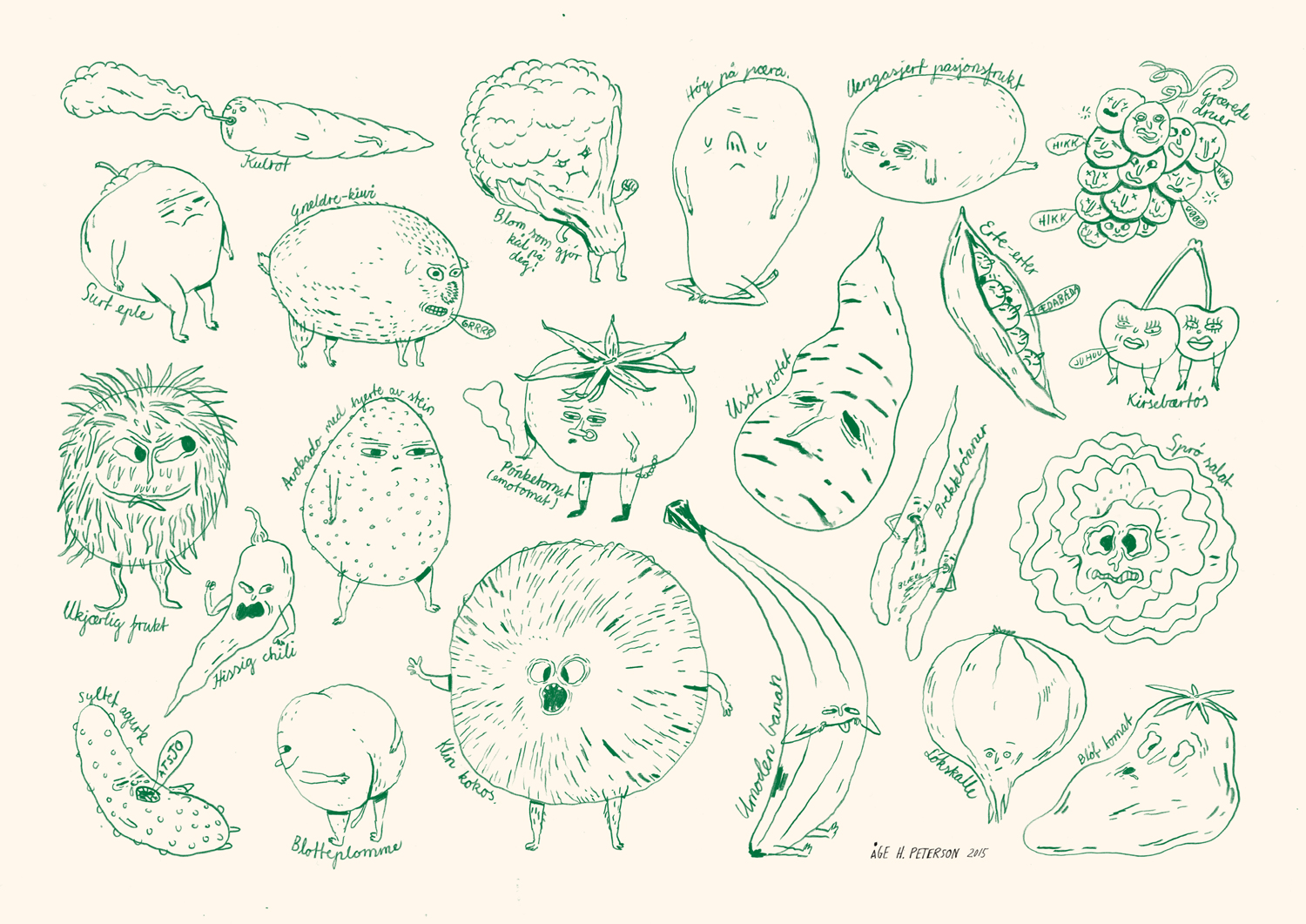 Bad vegetables , (November, 2015). This is a piece (called «Dårlige grønnsaker» in Norwegian), with several names for the different characters which proves very difficult to translate into english in a funny way, since it's based on Norwegian play with words. A few examples in english though: Cool carrot, barking kiwi, cuckoo coconut, puking lima beans. Not so funny when it's translated. Teasing peas works though. To sum it up I depict vegetables/fruit in way that is opposite to the typical «Eat your greens and stay healthy» kind of message. It has proven popular among kids at sales fairs. But anyway. Kids, you should definitely listen to your mom and/or dad and eat your vegetables and fruit. Don't listen to me.