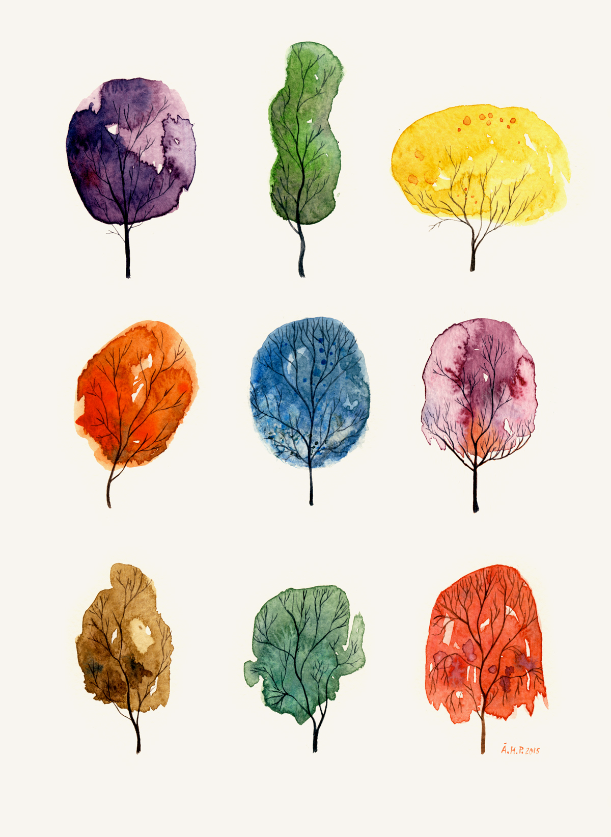 Water color trees  (November, 2015).