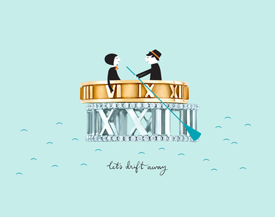 Valentines illustrations for Tiffany & Co. by Blanca Gómez
