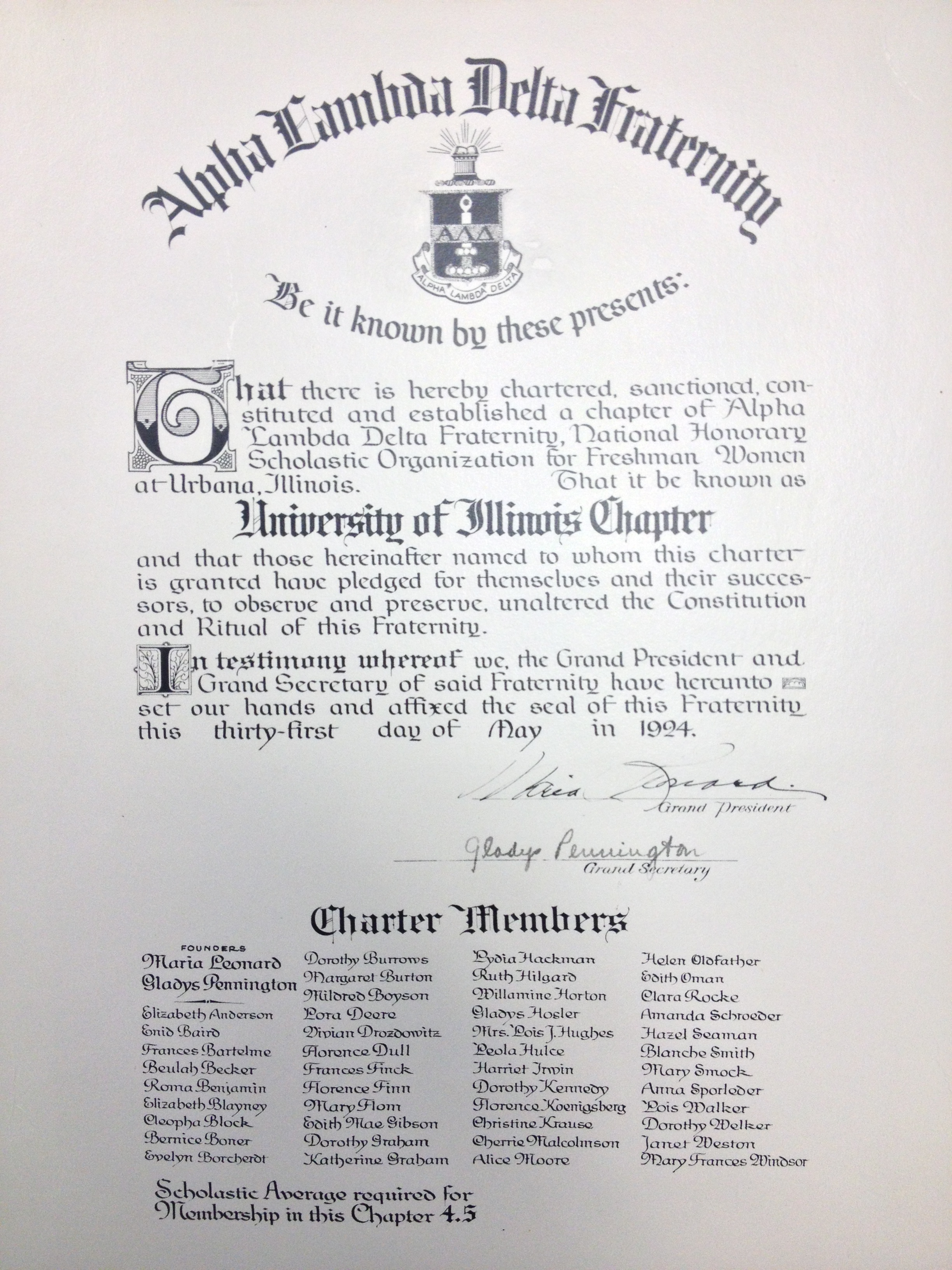 alpha lambda delta's first charter, written in 1924, from ald's first chapter founded at the university of illinois at urbana-champaign