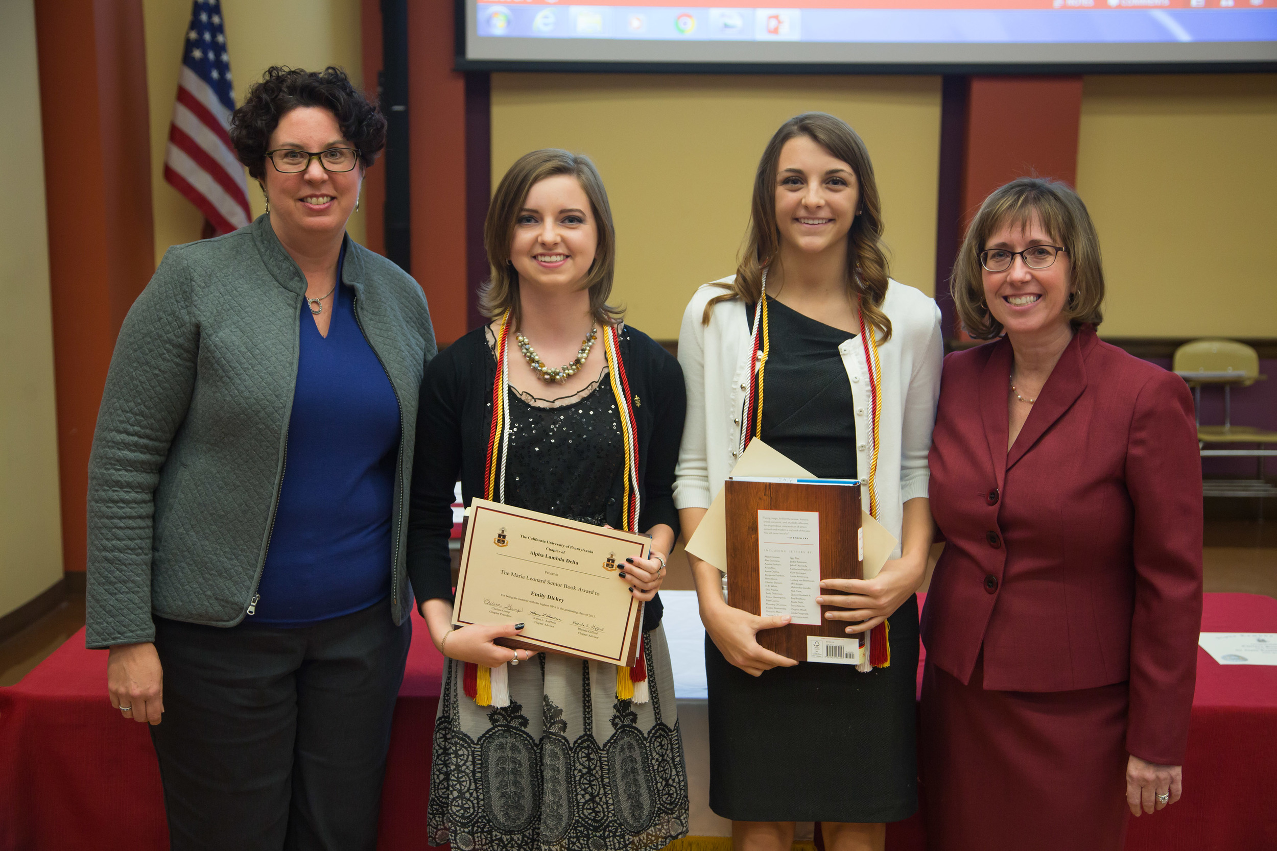california university of pennsylvania advisors presenting ald members with senior awards