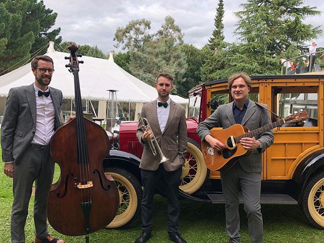 The Silver Stage Swing Trio enjoying this vintage car at their gig weekend 🚗🎺🎙