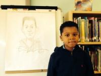Eric Velasquez drew this portrait of a Hurley School student.
