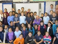 Joe Bruchac and 5th graders at the Hernandez School.