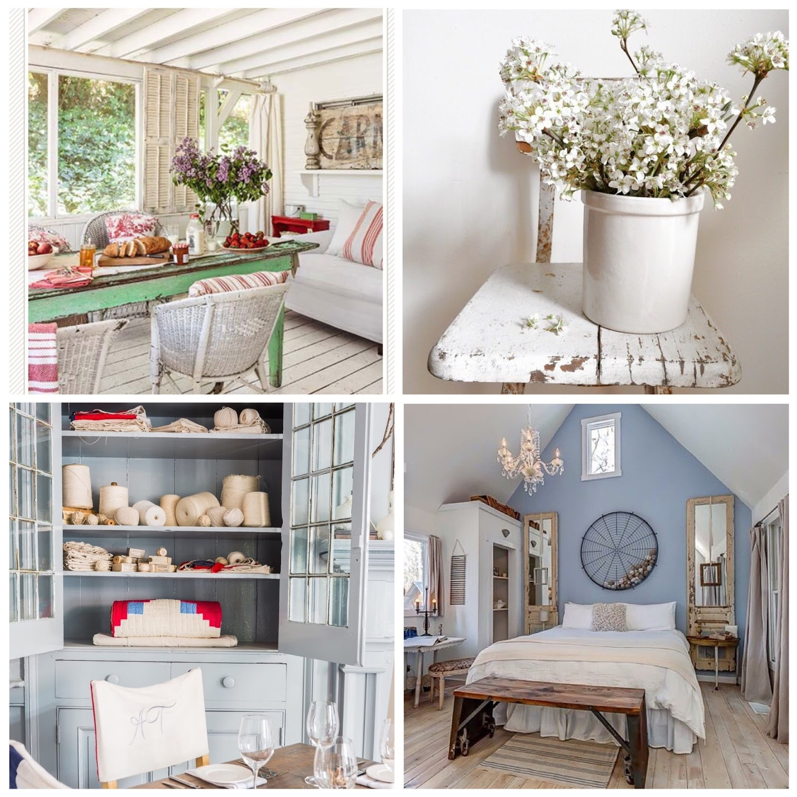 Top Left Photo: This Old House Magazine, Interior Design: Lizzie McGraw - Tumbleweed and Dandelion; Top Right Photo & Interior Design: Becky Cunningham - Buckets of Burlap; Bottom Left Photo: Alyssa Rosenheck Photography, Interior Design: Kim Leggett - City Farmhouse; Bottom Right Photo: Shelter and Roost, Interior Design: Kim Leggett - City Farmhouse