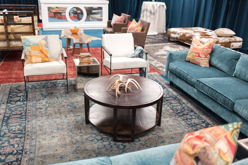 CMA Fest Green Room feature a blue sectional sofa from Mitchell Gold | City Farmhouse Interior Design