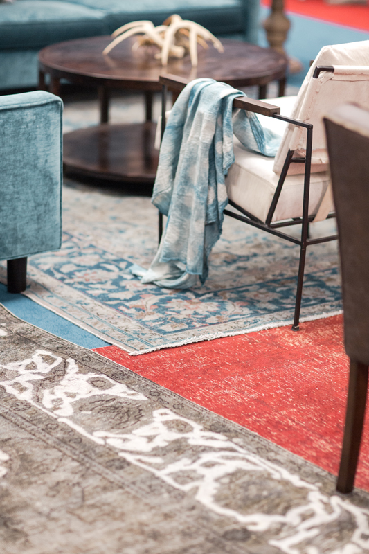 CMA Fest Green Room featured a layered rug look using authentic Persian rugs from Essy's Rug Gallery| City Farmhouse Interior Design