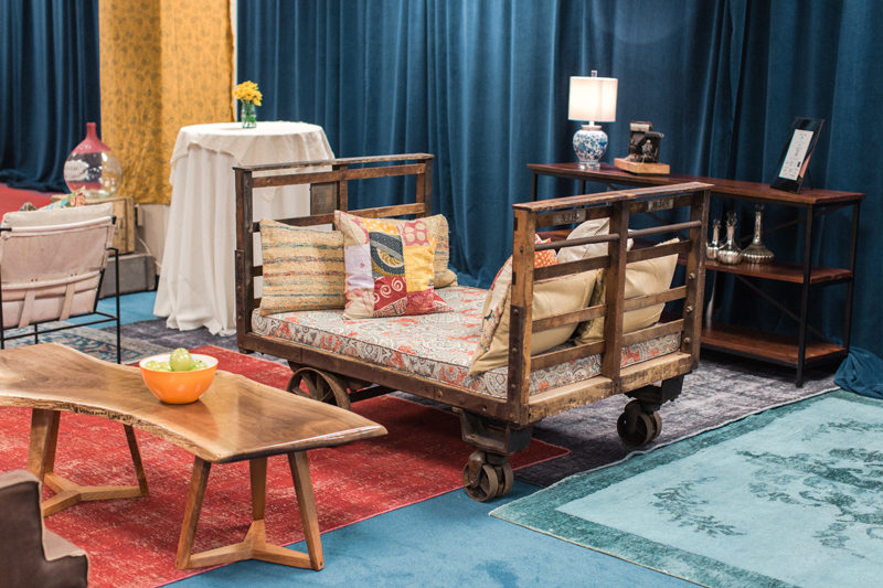 An industrial cart found at CR-71 adds extra seating at the CMA Fest Green Room | City Farmhouse Interior Design
