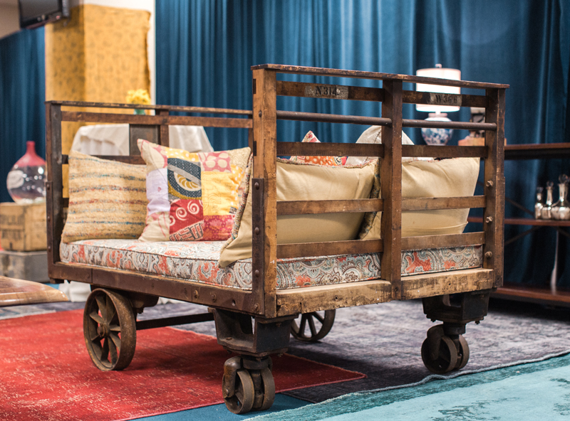 CR-71's industrial cart acts as an extra seating area at the CMA Fest Green Room | City Farmhouse Interior Design
