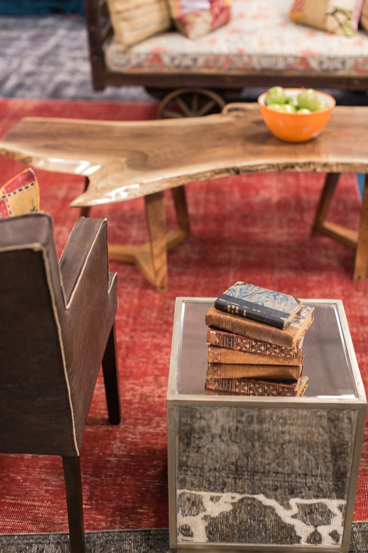 CMA Fest Green Room features a beautiful custom wood coffee table from Galante | City Farmhouse Interior Design