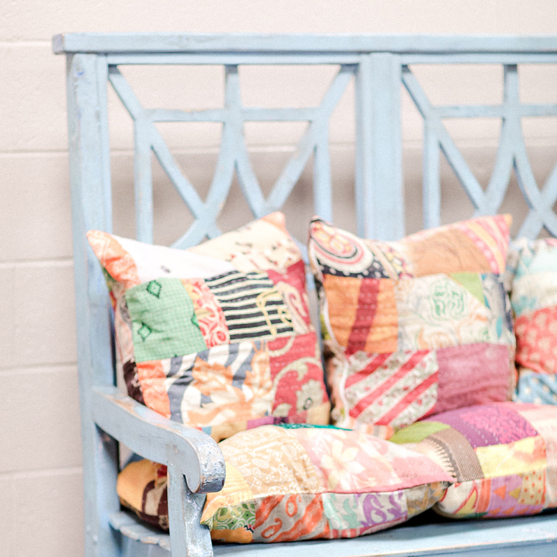 Boho Style blue bench in the CMA Fest dressing room | City Farmhouse Interior Design
