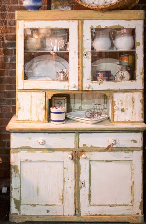 Desirable Junk's booth had a farmhouse cupboard full of vintage finds at the City Farmhouse Pop Up Fair | June 2017 | Franklin, TN
