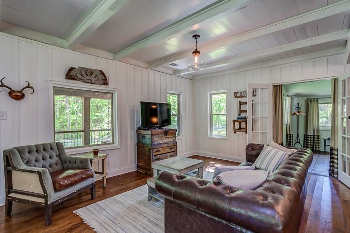 Comfortable oversized leather sofas at The Nest | Interior Designer: Kim Leggett