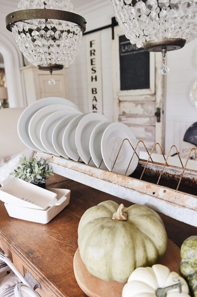 Vintage Plates and white pumpkins on the Liz Marie Blog