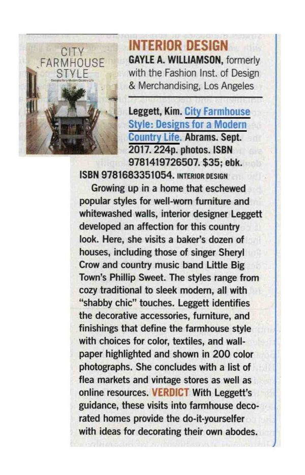 Library Journal Features City Farmhouse Style