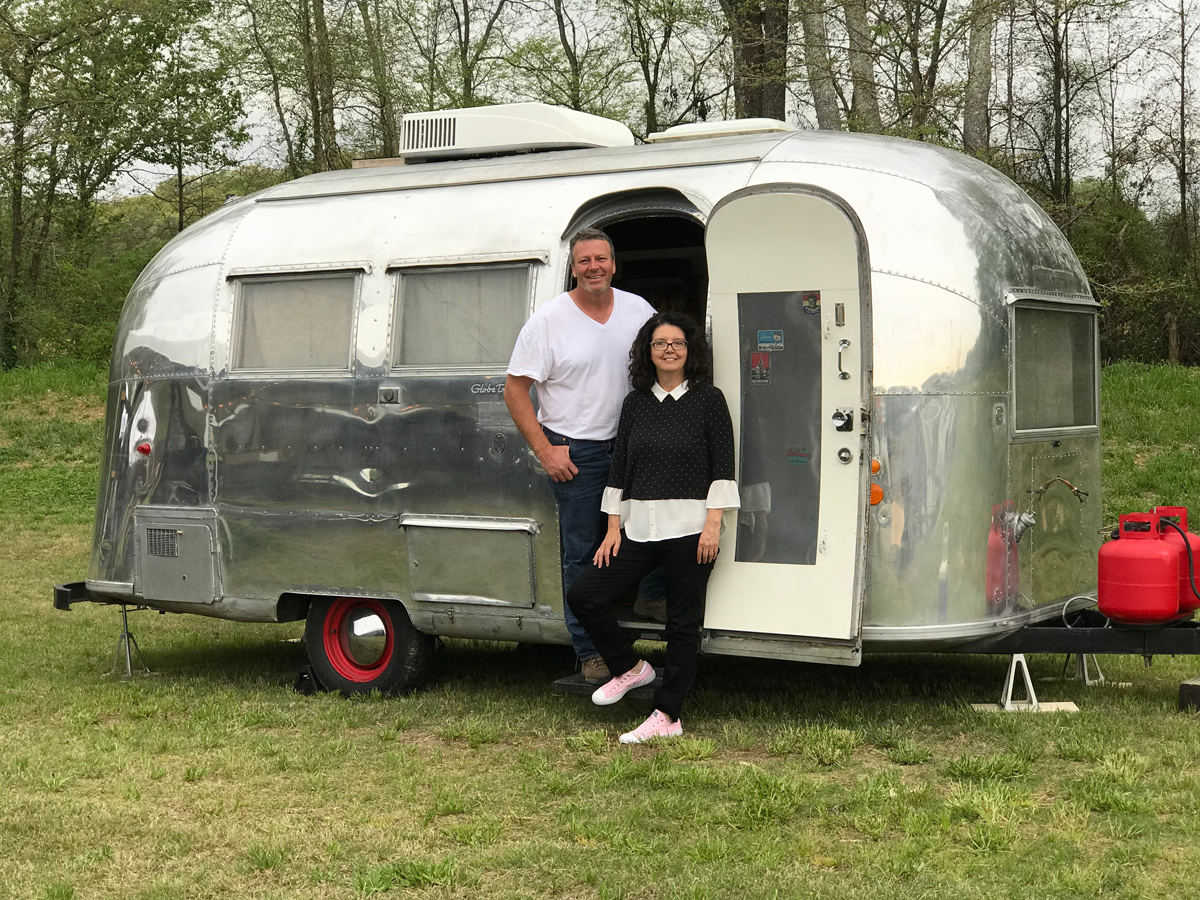 Kim and David Leggett of City Farmhouse with the 1962 Globetrotter Airstream