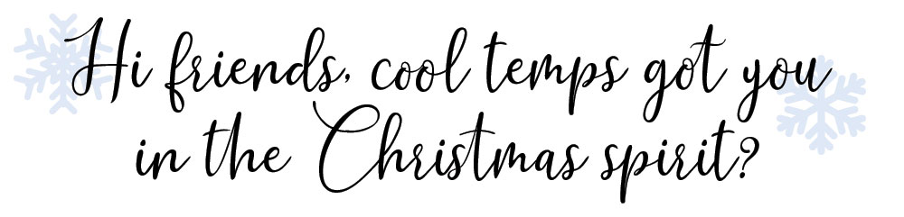 Hi friends, cool temps got you in the Christmas spirit?