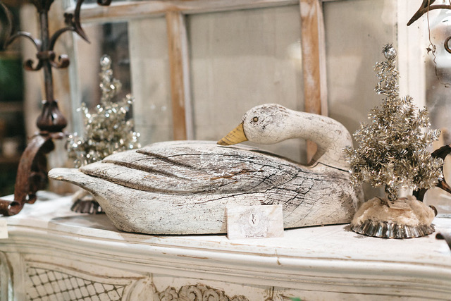 Wooden carved Swan at the City Farmhouse Holiday Market