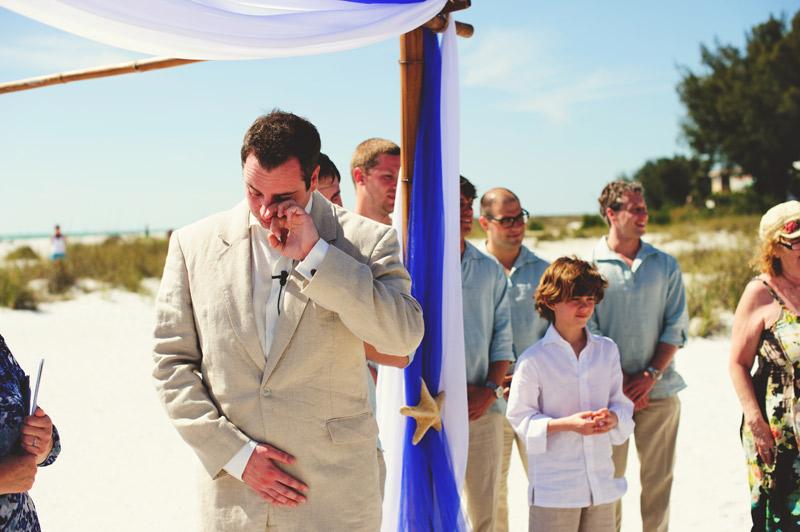 anna maria island wedding: emotional groom