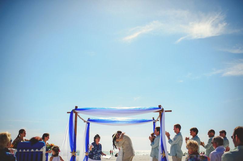 anna maria island wedding: emotional kiss