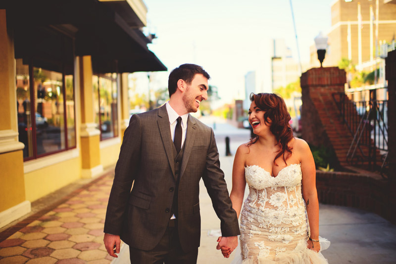 ceviche orlando wedding: bride and groom laughing