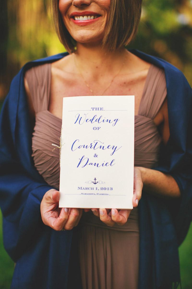 ringling museum wedding: ceremony progrram