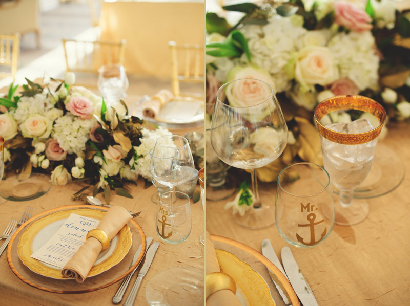ringling museum wedding: mr and mrs anchor glasses