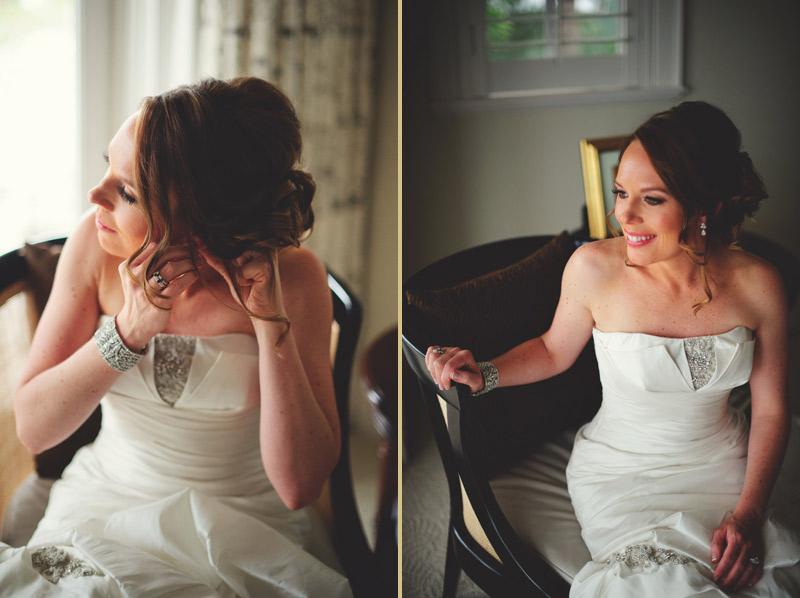 ringling museum wedding: bride putting on ear rings