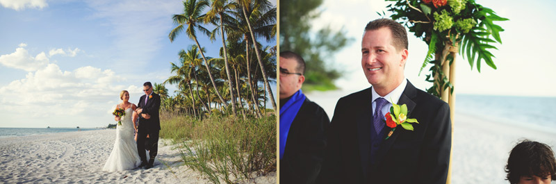 naples backyard beach wedding: father walking bride down isle