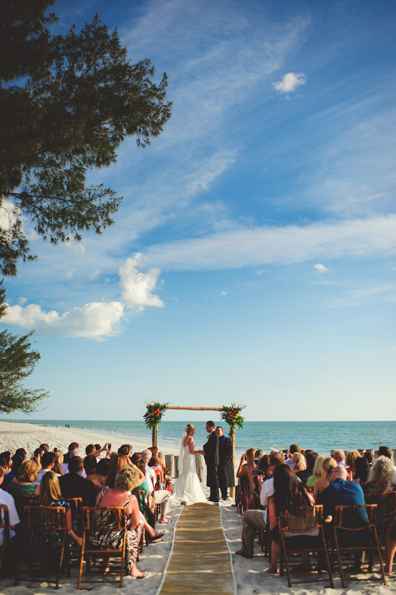 naples backyard beach wedding: beach ceremony