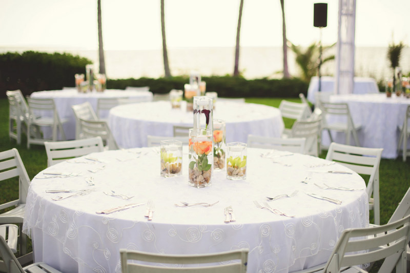 naples backyard beach wedding: flowers, details, table