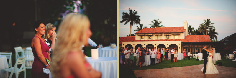 naples backyard beach wedding: first dance emotional reactions