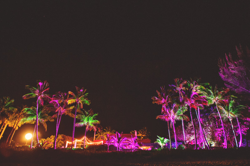 naples backyard beach wedding: night reception