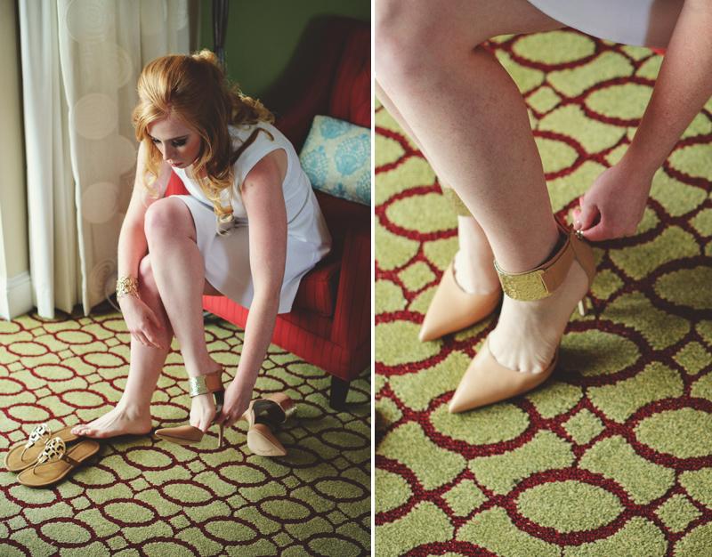 st pete elopement:  bride putting on shoes