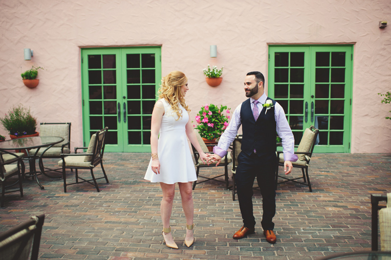 st pete elopement:  first time bride and groom see each other