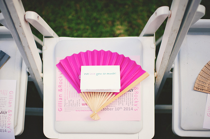 romantic sundy house wedding: chair and fan