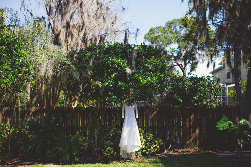 backyard wedding tampa: bride's wedding dress