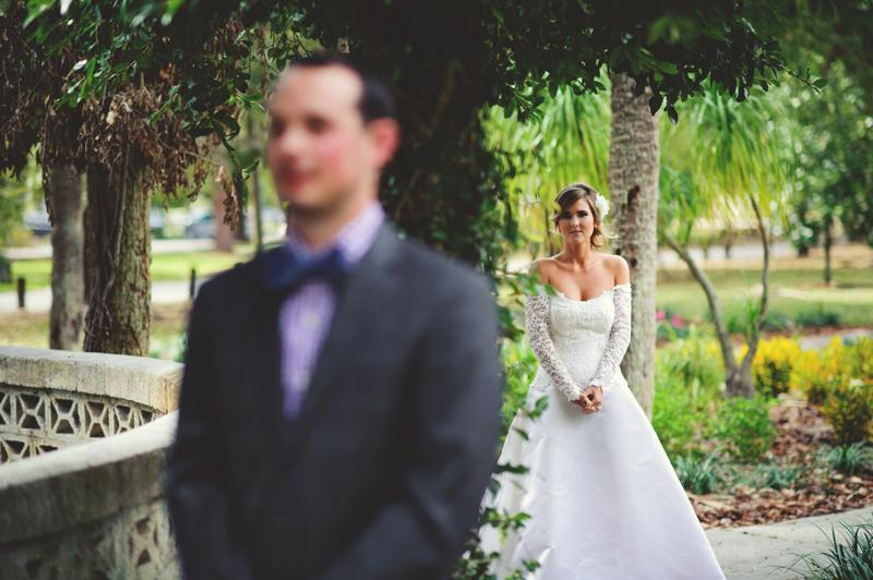 backyard wedding tampa: bride and groom first look