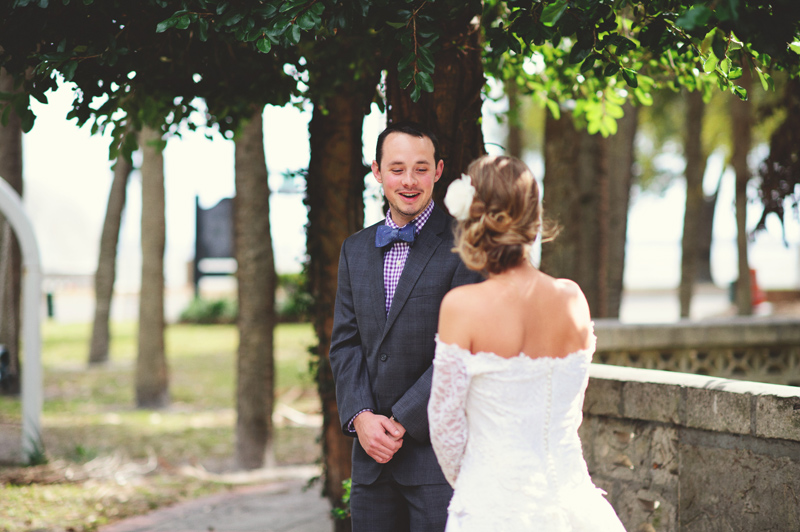 backyard wedding tampa: grooms first look reaction