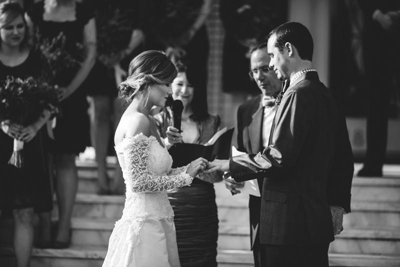 tampa backyard wedding: ring exchange