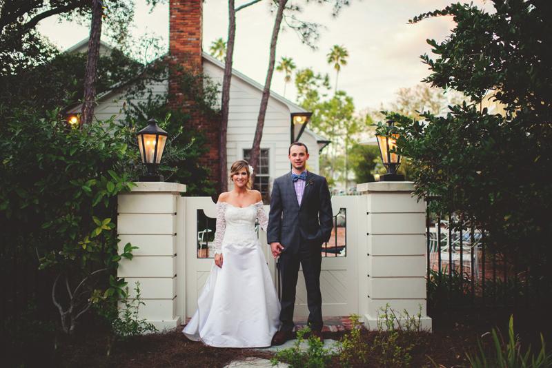 backyard tampa wedding: rad bride and groom