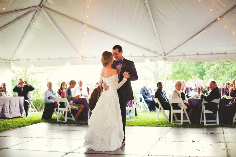 backyard tampa wedding: bride and groom first dance