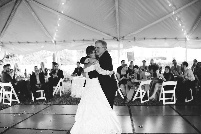 backyard tampa wedding: father bride dance