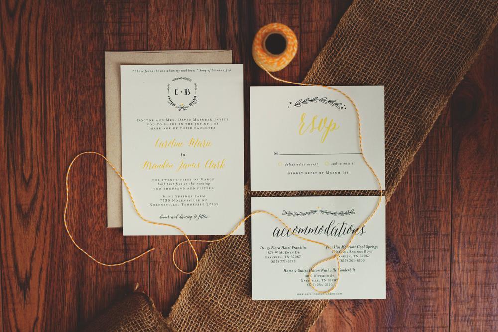 mint springs farm wedding invitation