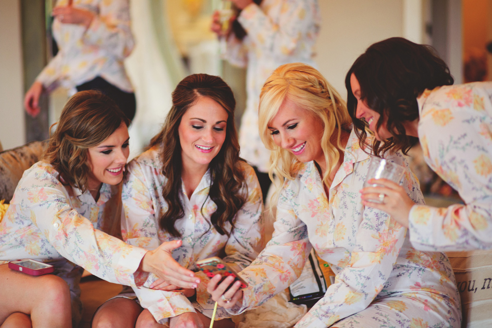 mint springs farm wedding: bridesmaids in robes