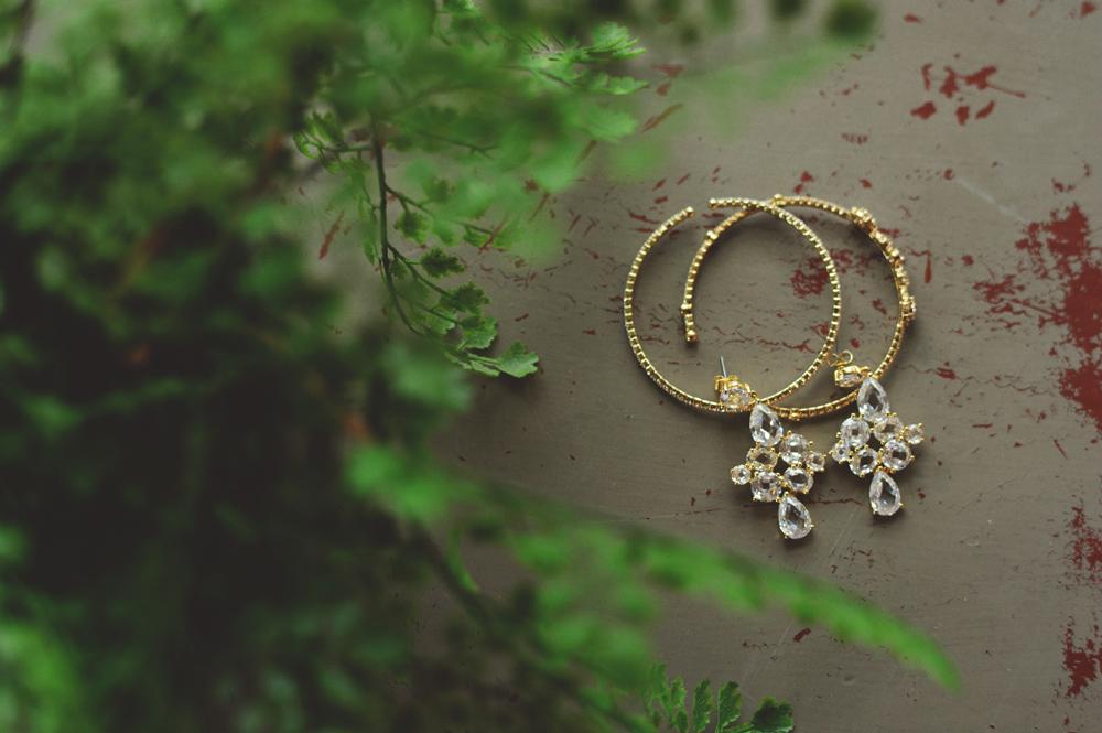 mint springs farm wedding: bride's earrings