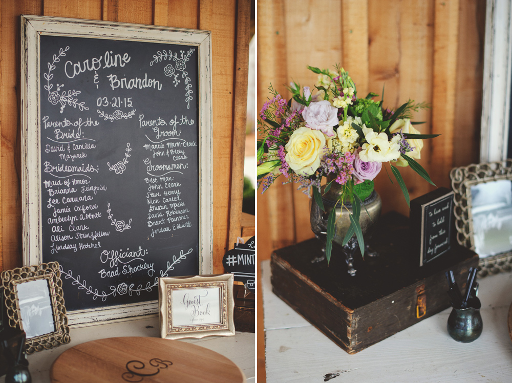 mint springs farm wedding: sign in table