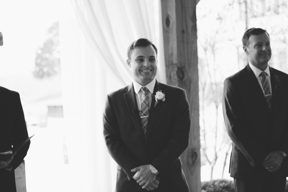 mint springs farm wedding: groom seeing bride for first time