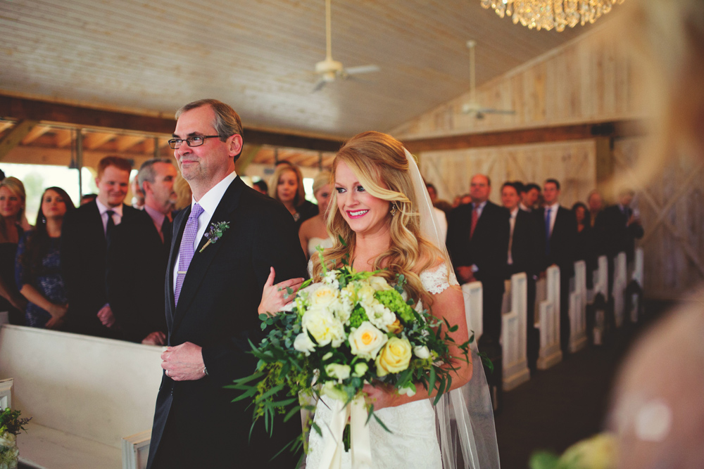mint springs farm wedding: bride and father walking down aisle